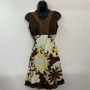Brown & Cream Sleeveless MIDI Dress Size M B-38